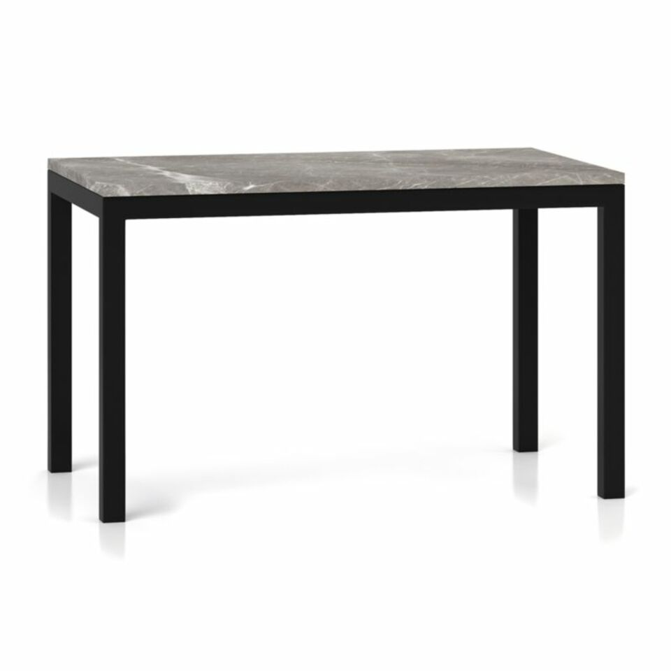 Parsons Grey Marble Top Dark Steel Base 48x28 Dining Table Crate And Barrel