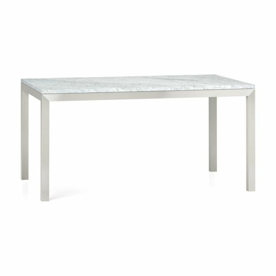 Parsons White Marble Top Stainless Steel Base 60x36 Dining Table Crate And Barrel Uae Crate And Barrel