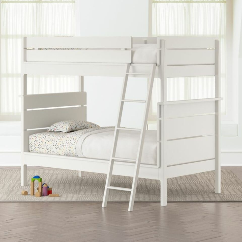 Wrightwood White Twin Over Twin Convertible Bunk Bed Crate And Barrel
